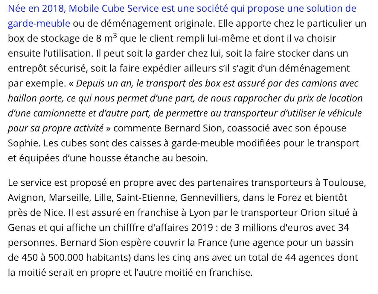 Article presse Mobile Cube Service
